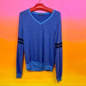 wildfox couture • blue striped varsity pullover m